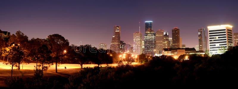 Houston Night Panorama stockbilder