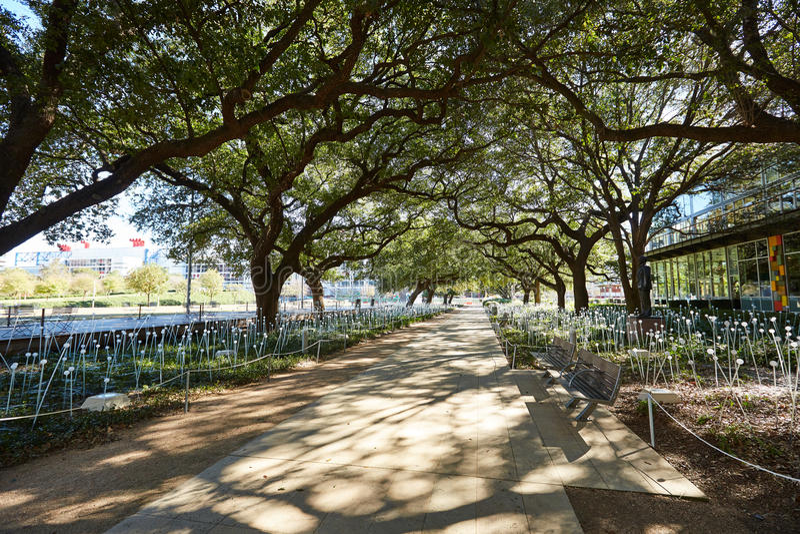 Houston odkrycia zieleni park w śródmieściu zdjęcie stock