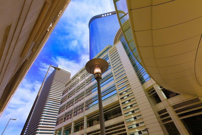 Houston pejzaż miejski Bell i Smith St w Teksas USA fotografia royalty free