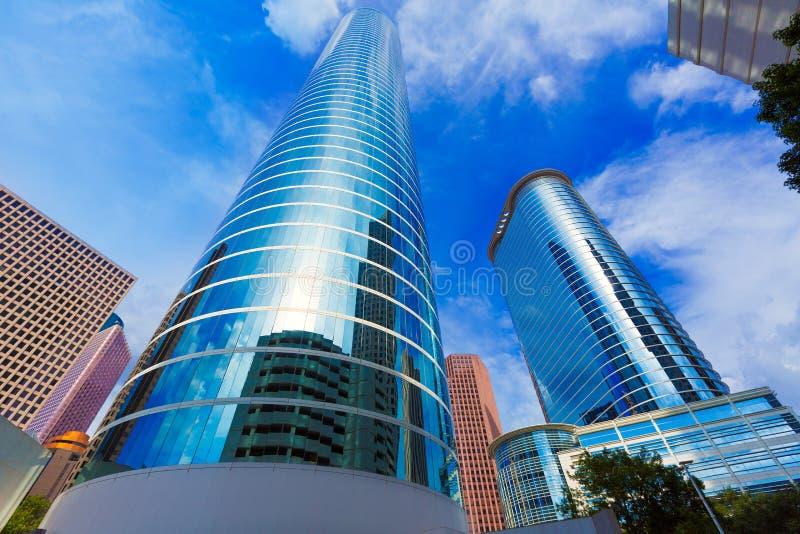 Houston pejzaż miejski Bell i Smith St w Teksas USA zdjęcia stock