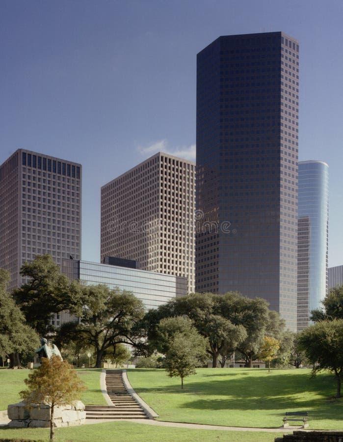 Houston skyline. From park stock image