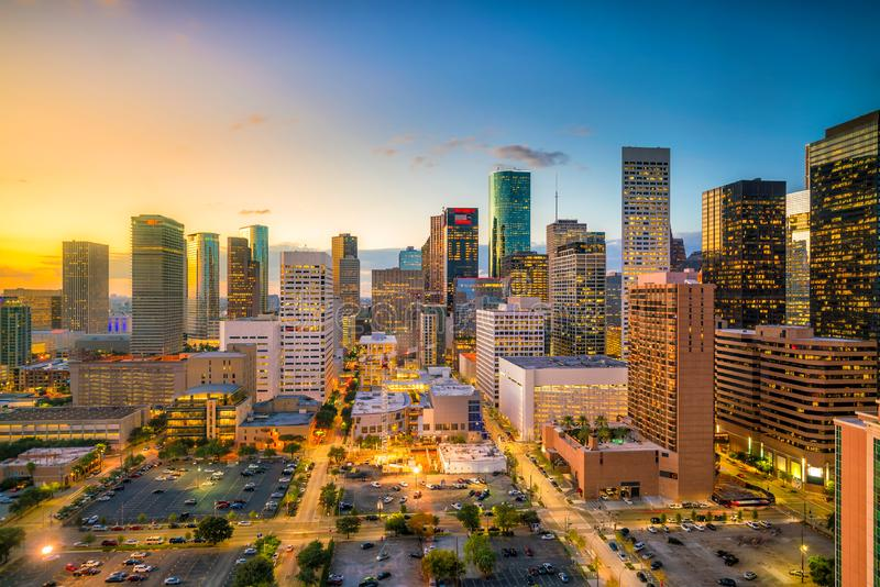 Houston Skyline céntrico imagenes de archivo