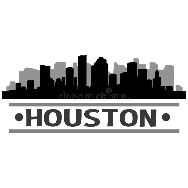Houston Skyline City Icon Vector Art Design royaltyfri illustrationer