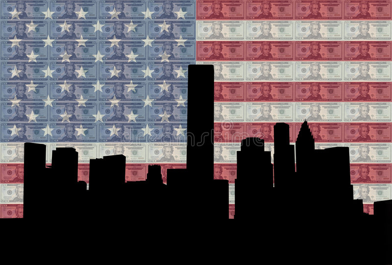 Houston Skyline With Flag Stock Images