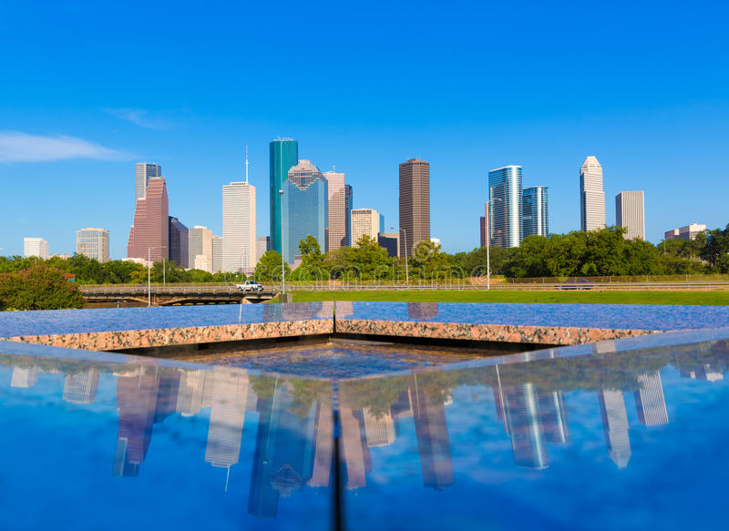 Houston skyline and Memorial reflection Texas US. A US stock images