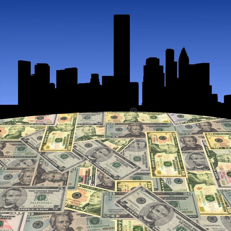 Houston-Skyline mit Dollar vektor abbildung