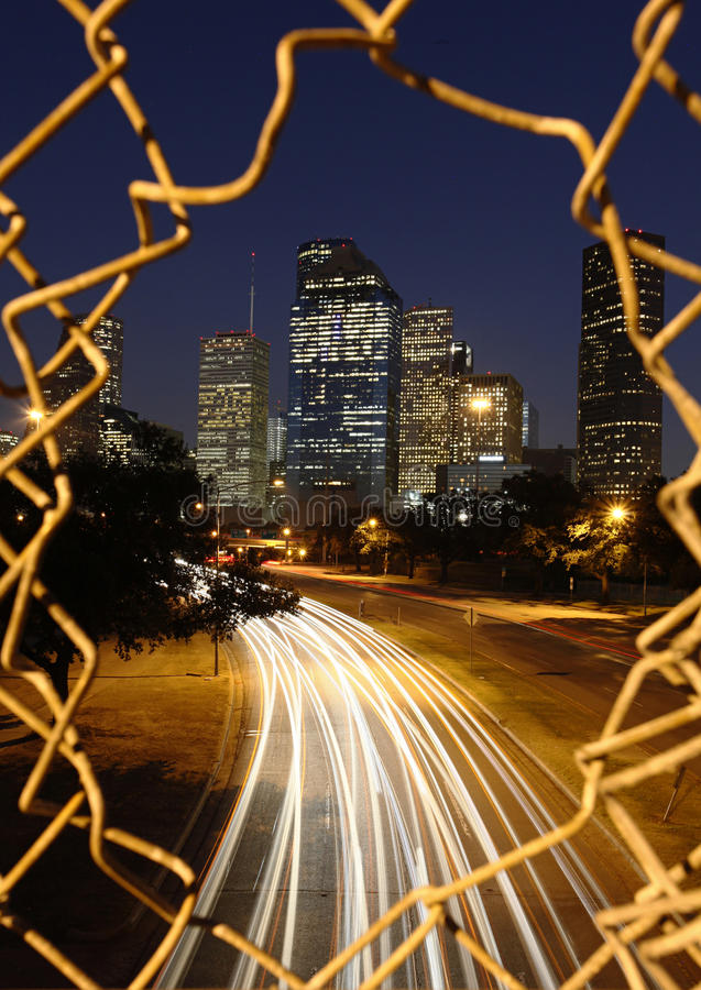 Houston Skyline at Night. Breaking out into the Houston Skyline at Night royalty free stock images