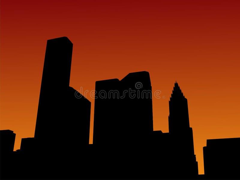 Houston-Skyline am Sonnenuntergang lizenzfreie abbildung