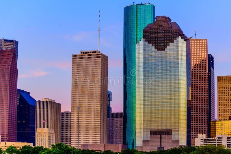 Houston skyline at sunset royalty free stock image