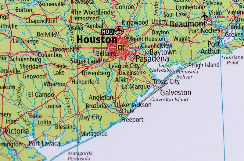 Houston sulla mappa fotografia stock