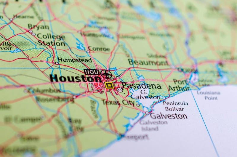 Houston sulla mappa fotografia stock libera da diritti