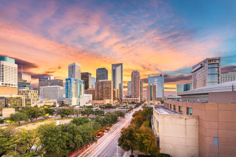 Houston, Tejas, parque c?ntrico de los E.E.U.U. y horizonte imagen de archivo