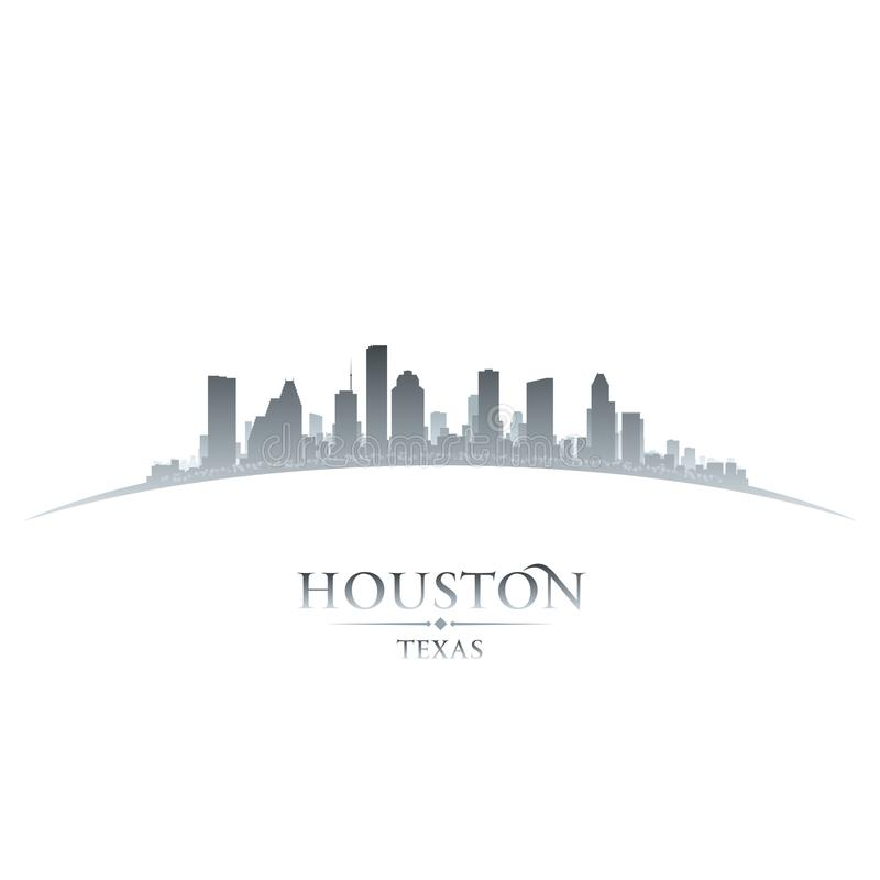 Houston Teksas miasta linii horyzontu sylwetki bielu tło ilustracji