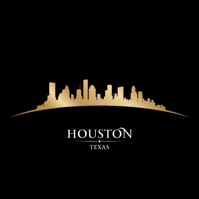 Houston Teksas miasta linii horyzontu sylwetki czerni tło ilustracji