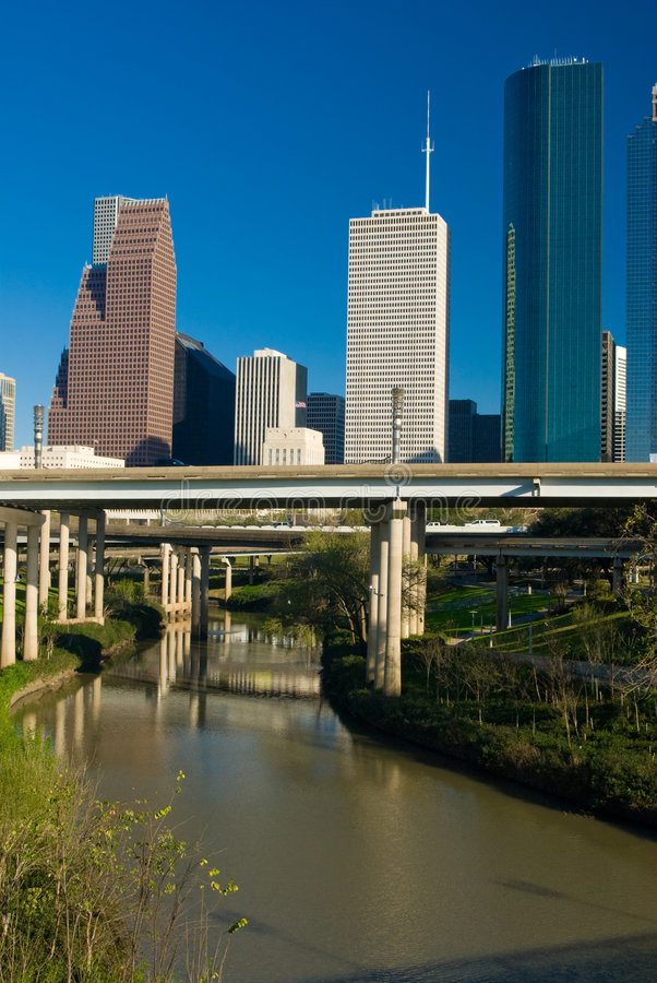 Houston Texas. View of the downtown area of Houston from a park royalty free stock photo