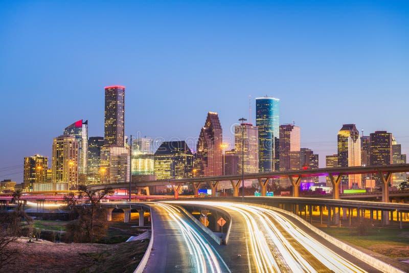 Houston, Texas, de de stadshorizon van de V.S. en de weg van de binnenstad royalty-vrije stock fotografie
