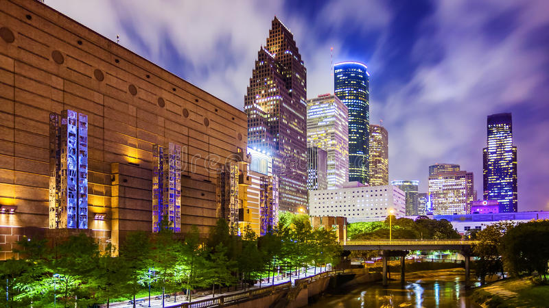 Houston, Texas Downtown Skyline at Night royalty free stock photography