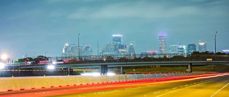Houston texas horisont och i stadens centrum arkivfoton