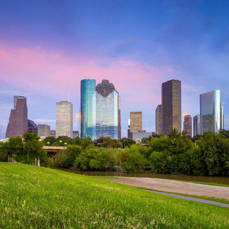 Houston Texas horisont på solnedgångskymning från parkerar gräsmatta arkivfoto