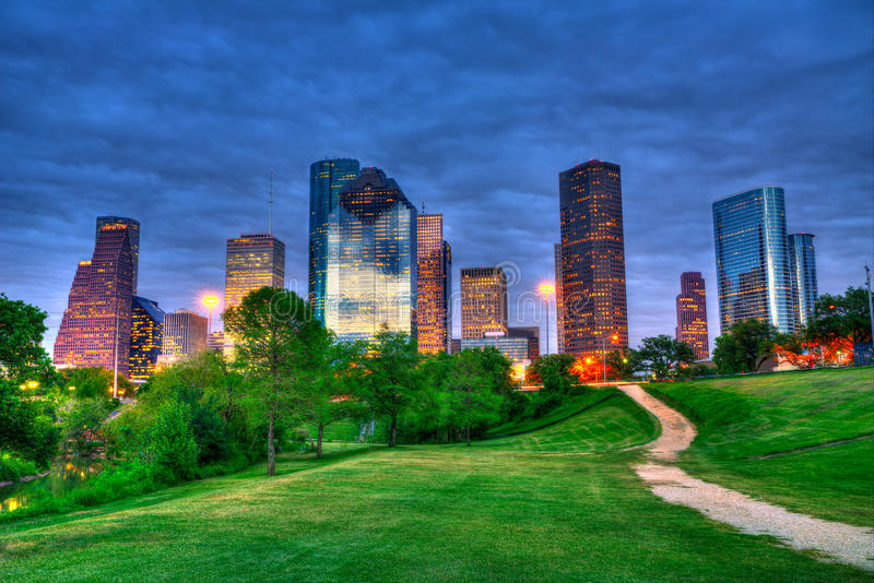 Houston Texas modern skyline at sunset twilight from park royalty free stock image