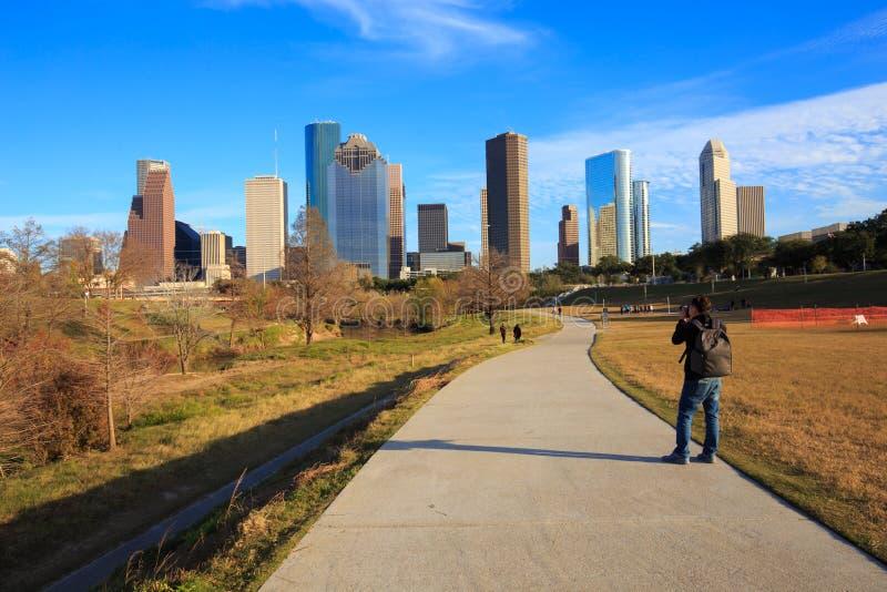 Houston Texas på 18 Januari 2016: Ett oidentifierat fotografskott arkivbilder