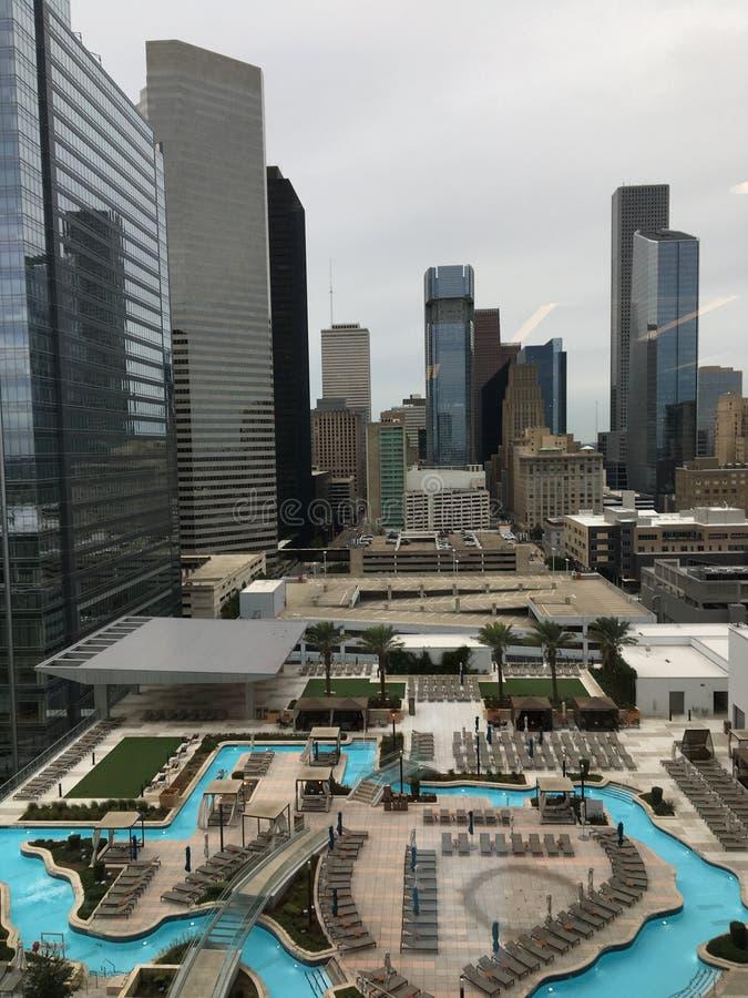 Houston Texas-Skilinie von einem Motel lizenzfreies stockbild