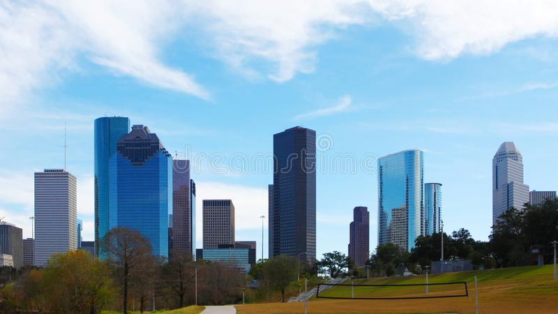 Houston, Texas skyline on a beautiful day. The Houston, Texas skyline on a beautiful day stock image
