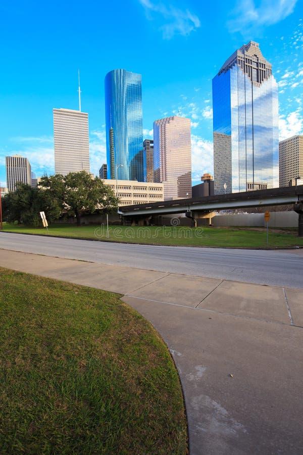 Houston Texas Skyline med moderna skyskrapor och sikt för blå himmel arkivbild