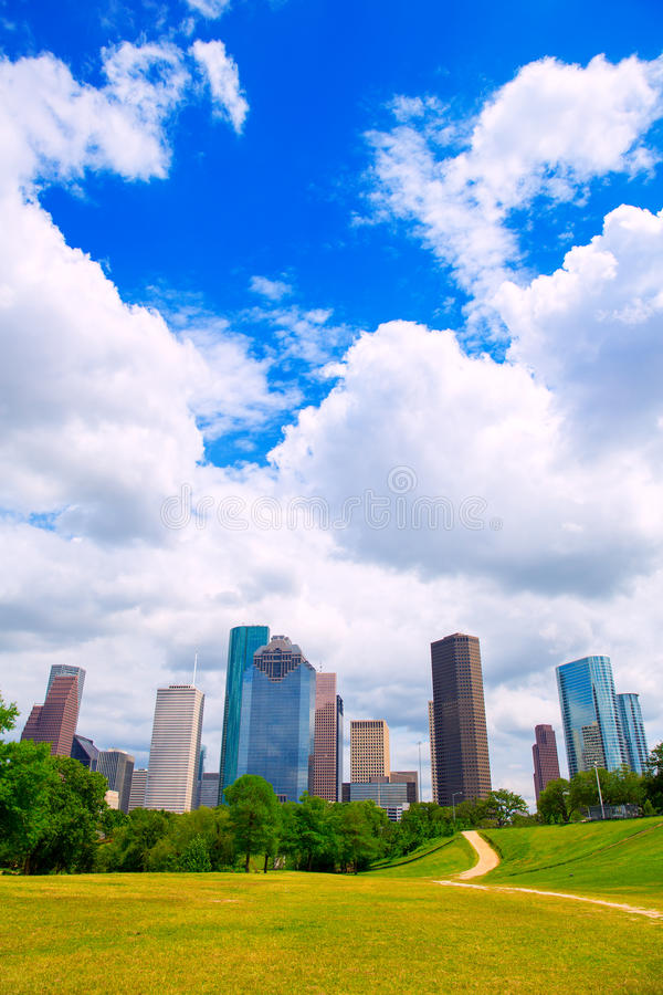 Houston Texas Skyline modern skyscapers and blue sky. Houston Texas Skyline with modern skyscapers and blue sky view from park lawn stock photography