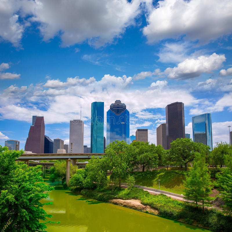 Houston Texas Skyline with modern skyscapers. And blue sky view from park river US royalty free stock image