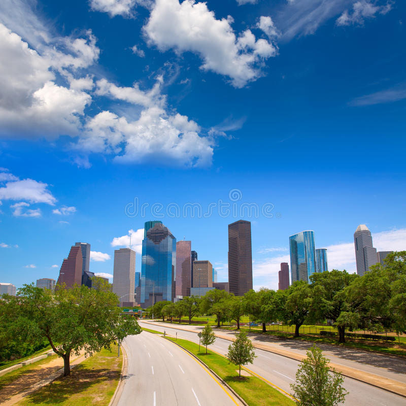 Houston Texas Skyline with modern skyscapers. And blue sky view from road royalty free stock image
