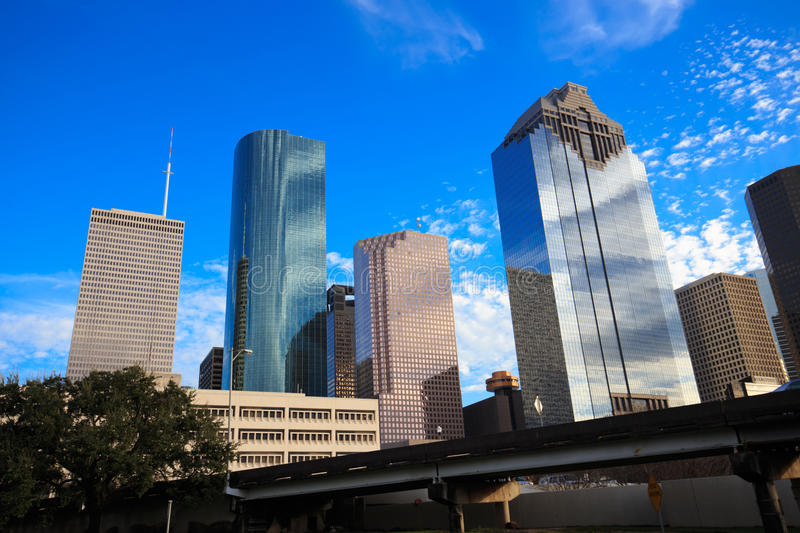 Houston Texas Skyline with modern skyscrapers and blue sky view. From park royalty free stock photography