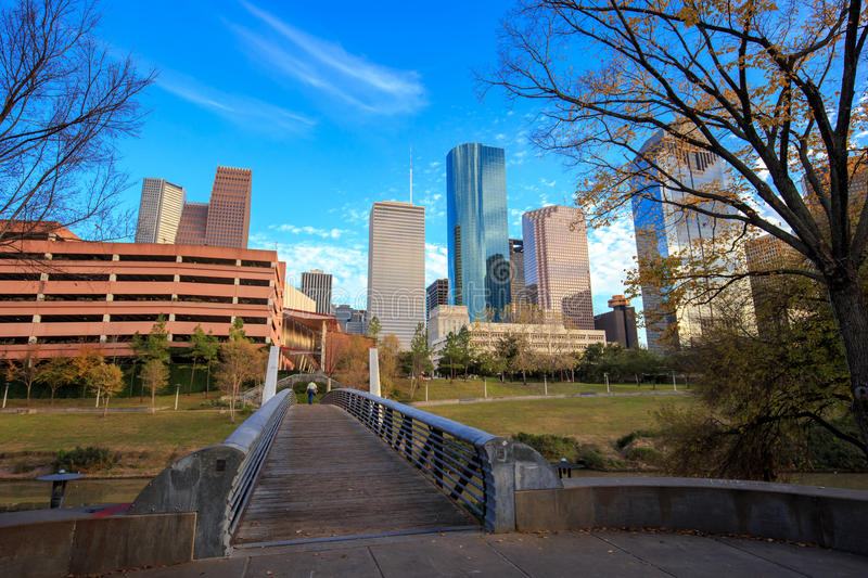 Houston Texas Skyline with modern skyscrapers and blue sky view. From park stock photos