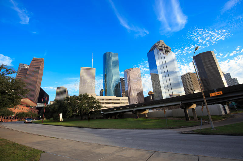 Houston Texas Skyline with modern skyscrapers and blue sky view. From park royalty free stock photos