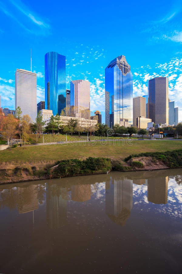 Houston Texas Skyline with modern skyscrapers and blue sky view. From park royalty free stock image