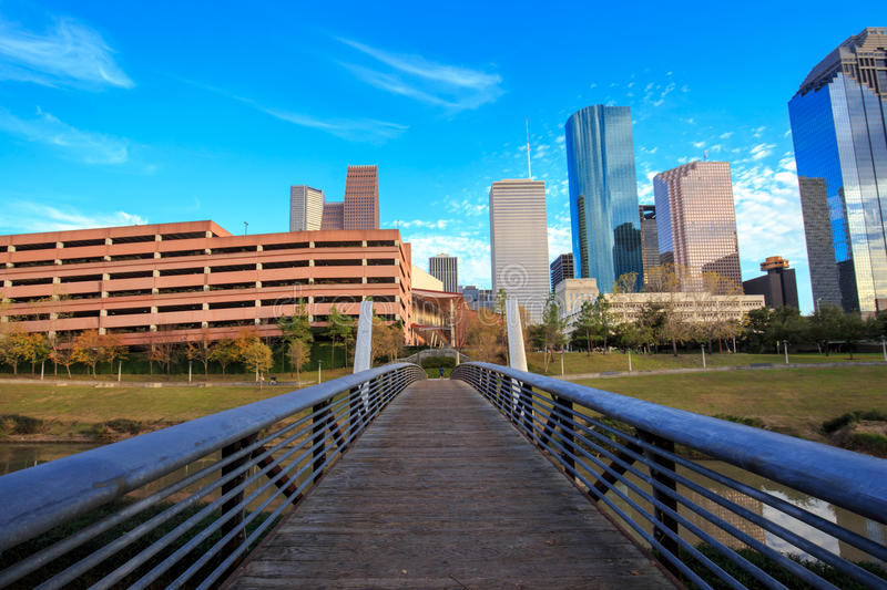 Houston Texas Skyline with modern skyscrapers and blue sky view. From park royalty free stock photo
