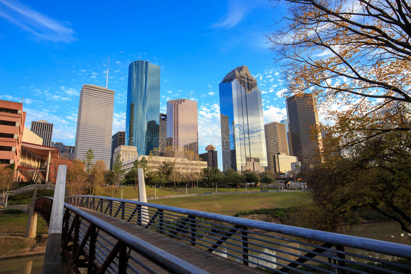 Houston Texas Skyline with modern skyscrapers and blue sky view. From park stock photography
