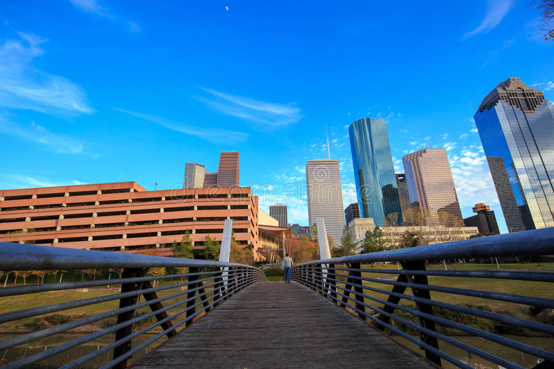 Houston Texas Skyline with modern skyscrapers and blue sky view. From park royalty free stock images