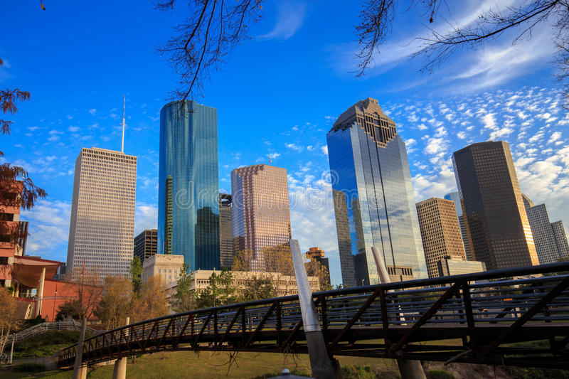 Houston Texas Skyline with modern skyscrapers and blue sky view. From park stock image