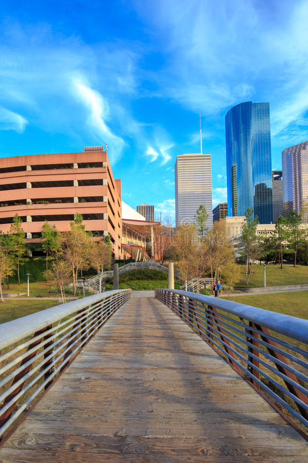 Houston Texas Skyline with modern skyscrapers and blue sky view. From park stock photo