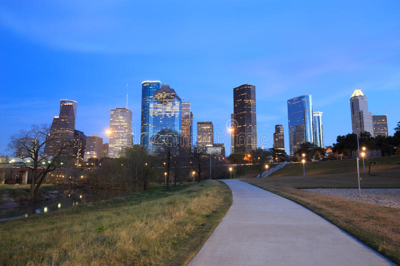 Houston Texas Skyline with modern skyscrapers and blue sky view. From park in evening royalty free stock images