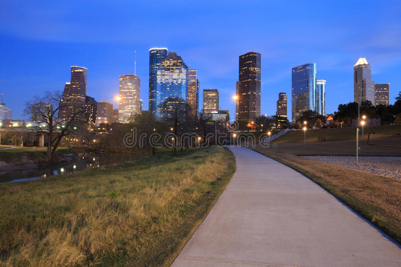 Houston Texas Skyline with modern skyscrapers and blue sky view. From park in evening stock image