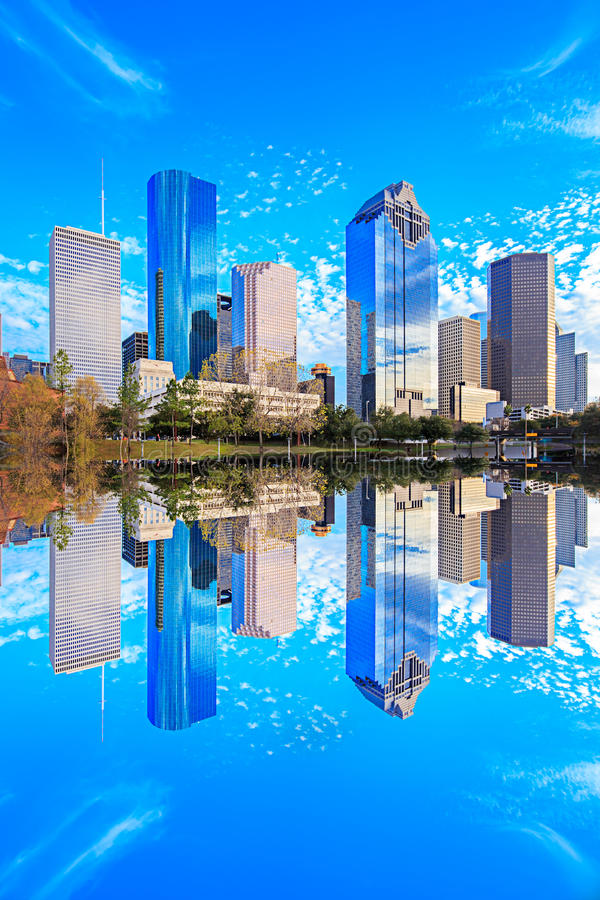 Houston Texas Skyline with modern skyscrapers and blue sky view. From park with reflection royalty free stock images