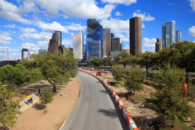 Houston Texas Skyline with modern skyscrapers and blue sky view. HOUSTON, USA on 13 MARCH 2016: Houston Texas Skyline with modern skyscrapers and blue sky view stock photography