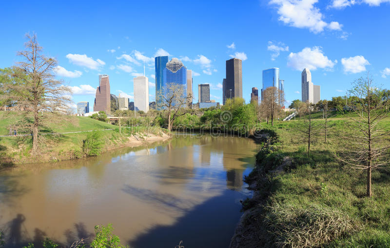 Houston Texas Skyline with modern skyscrapers and blue sky view. HOUSTON, USA on 13 MARCH 2016: Houston Texas Skyline with modern skyscrapers and blue sky view stock images