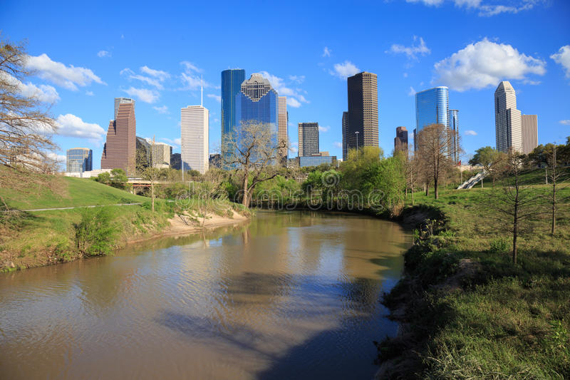 Houston Texas Skyline with modern skyscrapers and blue sky view. HOUSTON, USA on 13 MARCH 2016: Houston Texas Skyline with modern skyscrapers and blue sky view royalty free stock photos
