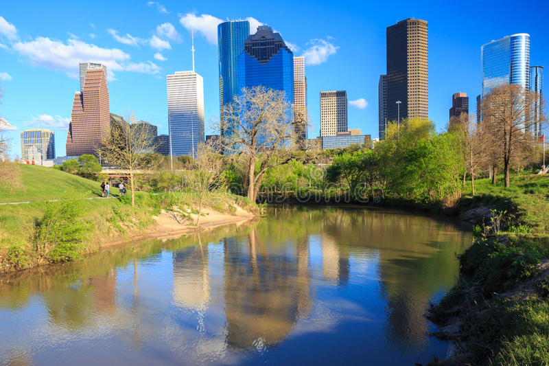 Houston Texas Skyline with modern skyscrapers and blue sky view. HOUSTON, USA on 13 MARCH 2016: Houston Texas Skyline with modern skyscrapers and blue sky view stock image