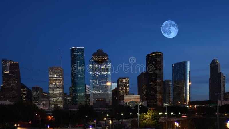 Houston, Texas skyline with moon. The Houston, Texas skyline with moon stock photos