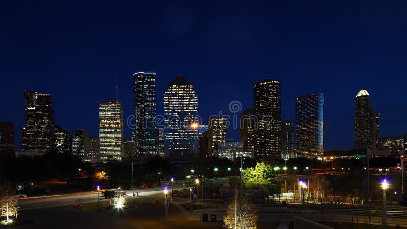 Houston, Texas skyline at night. The Houston, Texas skyline at night stock photo