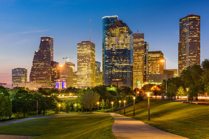 Houston Texas Skyline and Park. Houston, Texas, USA park and downtown skyline stock image